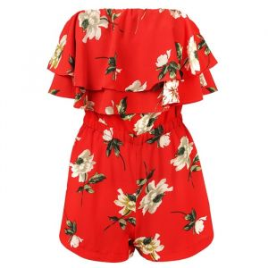Flower Strapless Playsuit - Red
