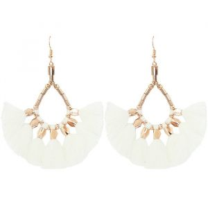 Bead Tassel Earrings Creme - Gold/Silver