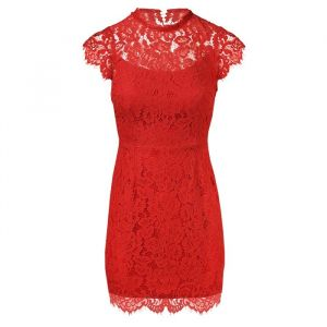 Open Back Lace Dress - Red