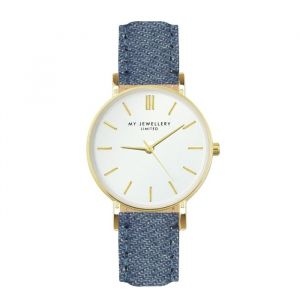 My jewellery limited watch small 2.0 - Denim/gold