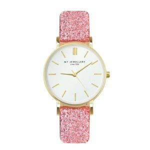 My jewellery limited watch small 2.0 - pink glitter/gold
