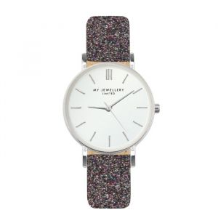 Bruin glitter horloge met zilveren details