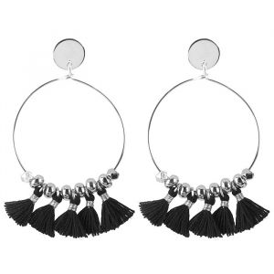 Tassel Hoops Black - Gold/Silver