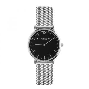 My Jewellery mesh horloge limited edition - zilver/zwart