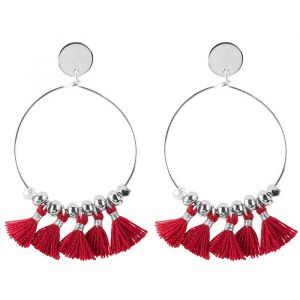 Tassel Hoops Red - Gold/Silver