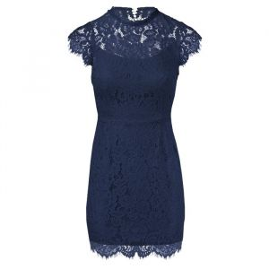 Open Back Lace Dress - Navy