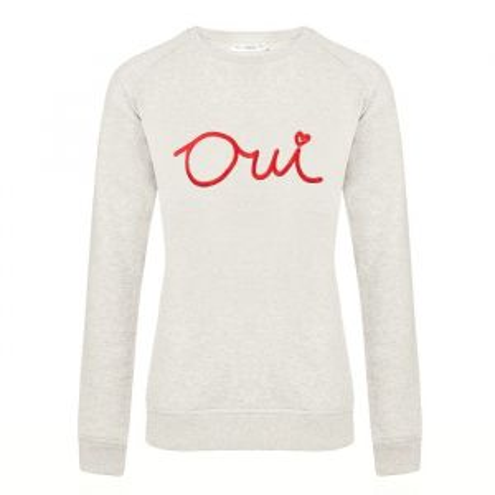City Sweater Oui - Light Grey/Red