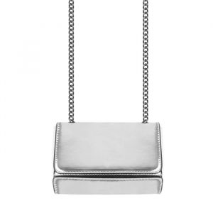 Crossbody Chain Clutch - Metallic Silver