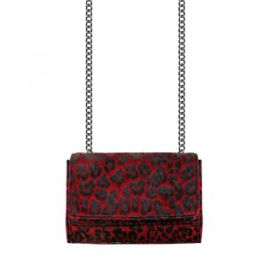 Crossbody Chain Clutch - Leopard Red