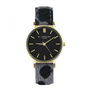 Leopard Watch - Grey/Gold