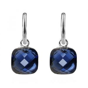 Square Stone Earrings Dark Blue - Gold/Silver/Rose