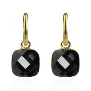Square Stone Earrings Black - Gold/Silver/Rose