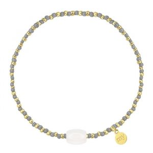 Small Beads Bracelet Grey/Transparent - Gold/Silver