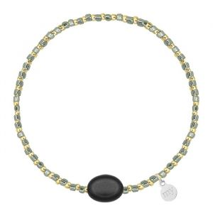 Small Beads Bracelet Shiny Grey/Black - Gold/Silver
