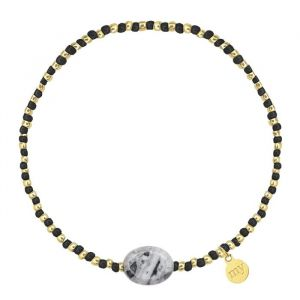 Small Beads Bracelet Black/Grey - Gold/Silver