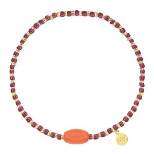 Small Beads Bracelet Fuchsia/Coral - Gold/Silver
