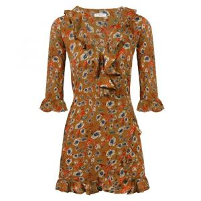 Ruffle Flower Dress - Camel