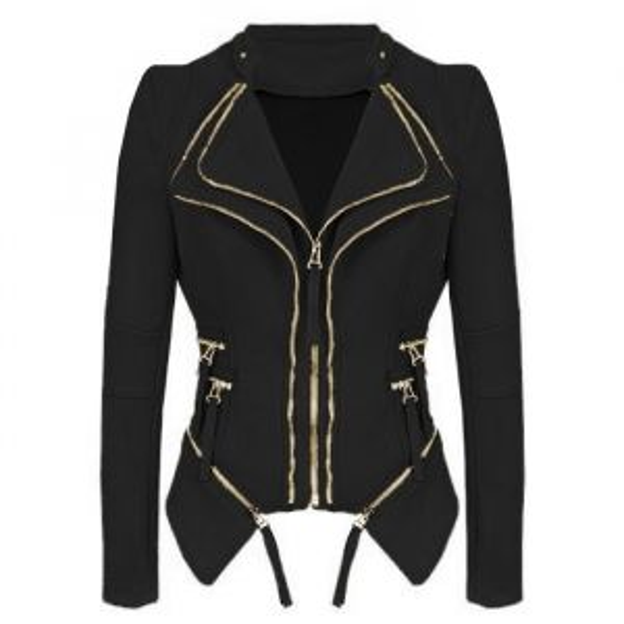 My Jewellery Biker jacket zwart gouden ritsen