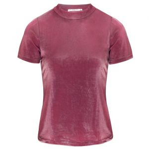Velvet Short Sleeve Top - Pink