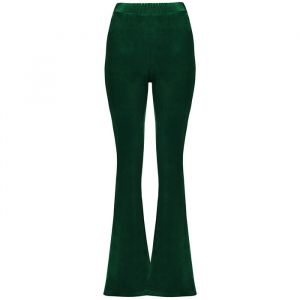 Flared Velvet Pants - Bottle Green