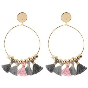 Tassel Hoops Grey/Pink - Gold/Silver