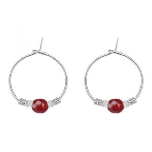 Large Bead Earrings Burgundy - Gold/Silver
