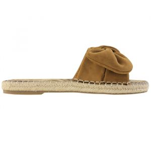 Suedine Bow Flip Flops - Brown