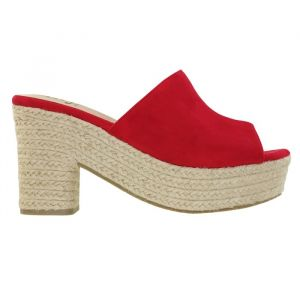 Suedine Platform Slippers - Red
