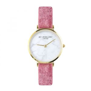Velvet Marble Watch - Pink - Gold/Silver/Rose