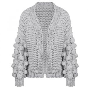 Handmade Knitted Cardigan - Light Grey