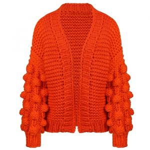 Handmade Knitted Cardigan - Orange