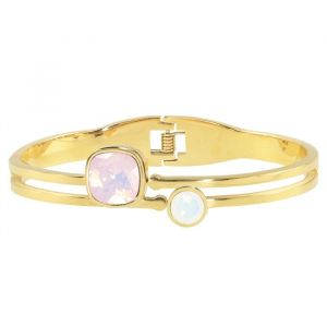 Square Stone Bangle - Pink/White - Gold/Silver