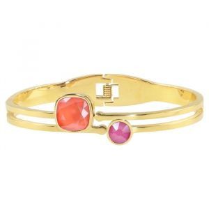Square Stone Bangle - Coral/Fuchsia- Gold/Silver