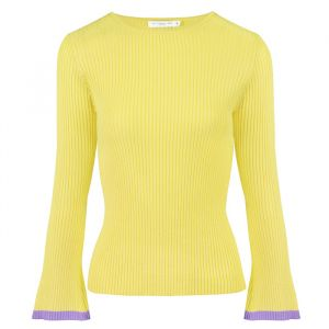 Flared Sleeve Top - Yellow/Lilac