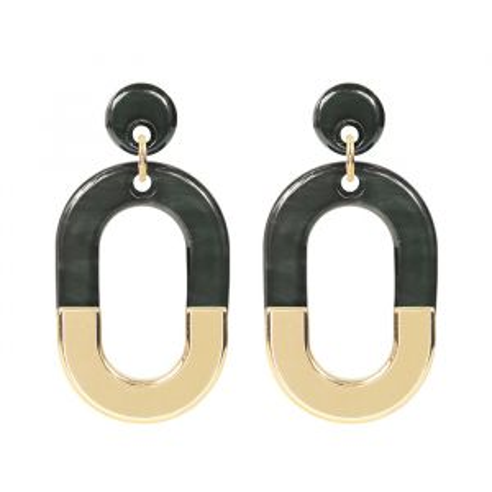 Oorsteker ovale hanger grijs goud My Jewellery