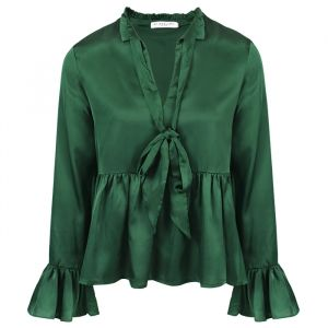 Green Satin Blouse-XS