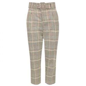 Grey/Beige Checked Pantalon-XS
