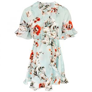 Flower Wrap Dress - Light Blue