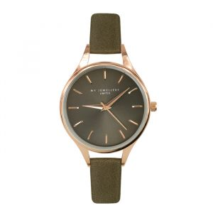 Classic Watch Army Green-Rose goud