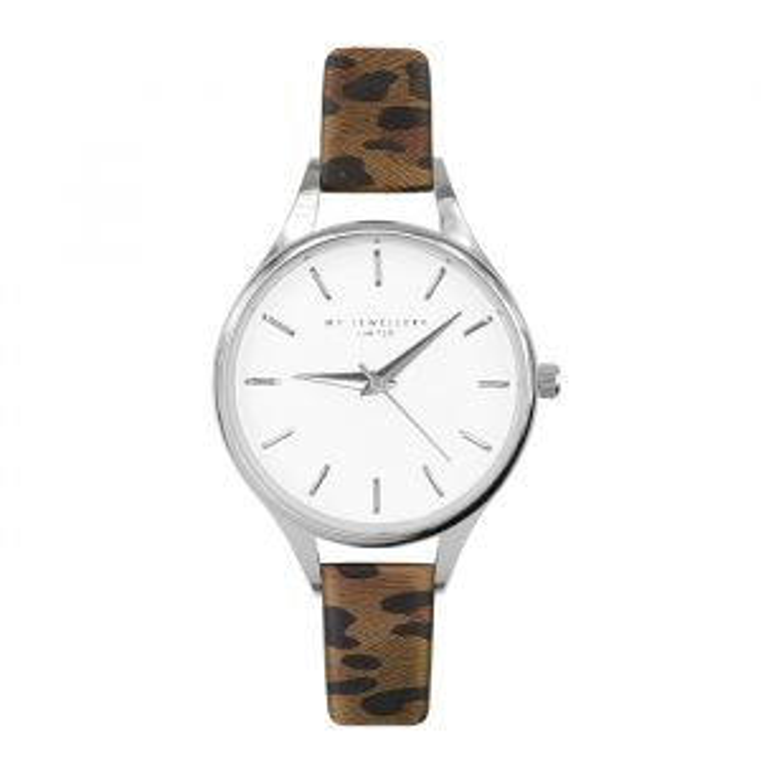 Leopard Watch Brown-Zilver