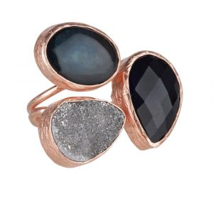 My Jewellery Gold Trio Drizzy Ring - Rose Black/Blue