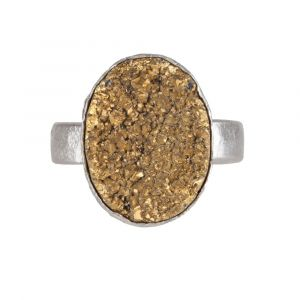 My Jewellery Gold Drizzy Ring - Silver Oval Yellow
