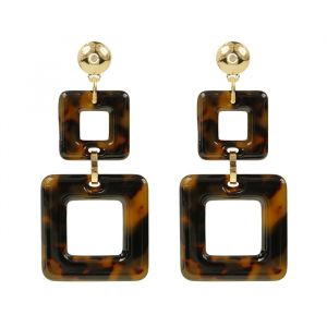 Double Square Earrings - Brown