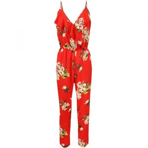 Ruffle Flower Jumpsuit - Red