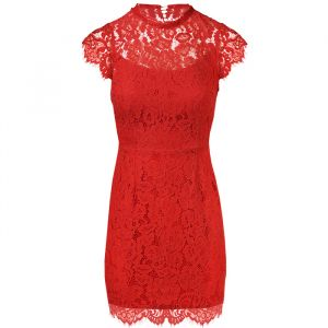 Open Back Lace Dress 2.0 - Red-S