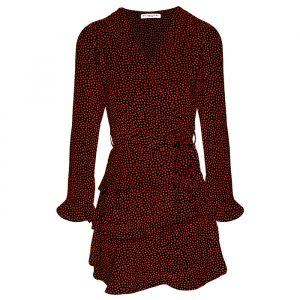 Red Longsleeve Dotted Layer Dress-XS
