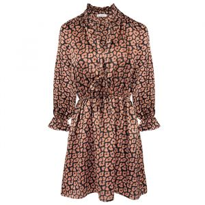 Satin Leopard Dress Long Sleeve -XS