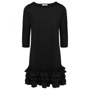 Black Basic Ruffle Dress 3/4 Sleeve-XS
