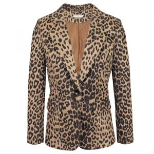 Suedine Leopard Blazer - Brown/Black