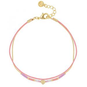 Shell & Bead Bracelet – Coral/Gold